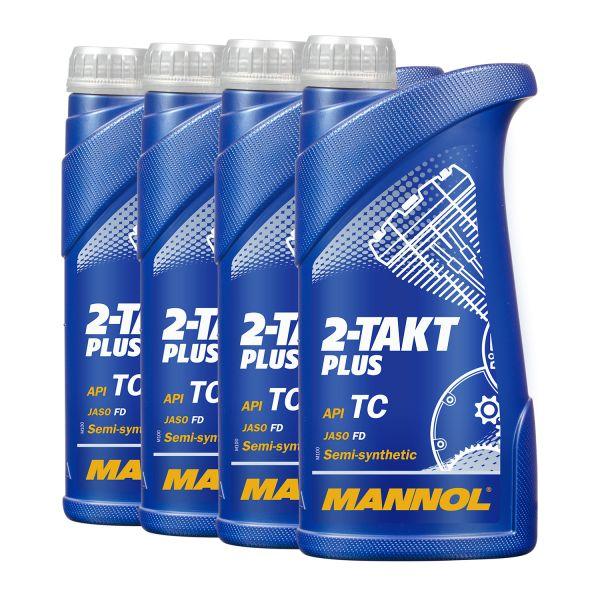4 (4x1) Liter MANNOL 2-Takt Plus - synthetisches Mischöl / Motoröl