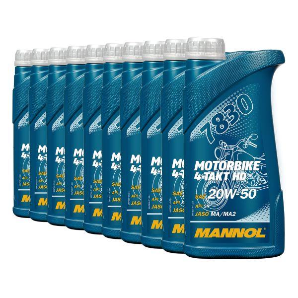 10 (10x1) Liter MANNOL 7830 SAE 20W-50 Motorbike 4-Takt HD