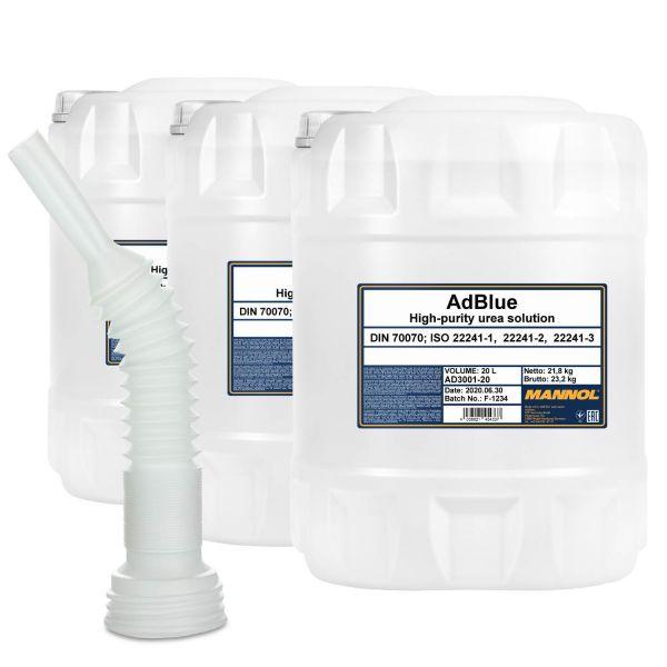 MANNOL ADBLUE Zusatz, 3x20 Liter mit Flextube Auslaufrohr