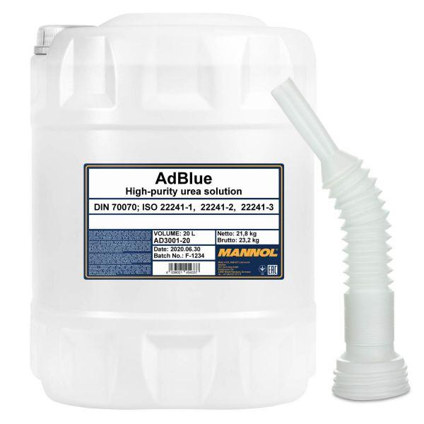 MANNOL ADBLUE Zusatz, 20 Liter mit Flextube Auslaufrohr