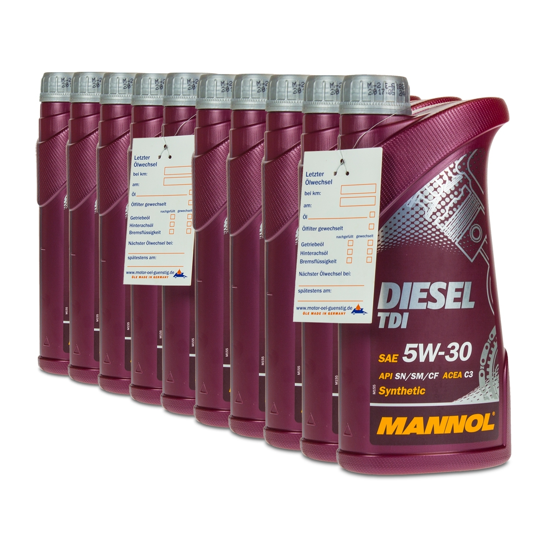 10 10x1 liter mannol 5w 30 diesel tdi motor l f r vw. Black Bedroom Furniture Sets. Home Design Ideas