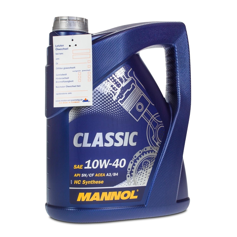 20 4x5 liter mannol 10w 40 classic motor l vw. Black Bedroom Furniture Sets. Home Design Ideas