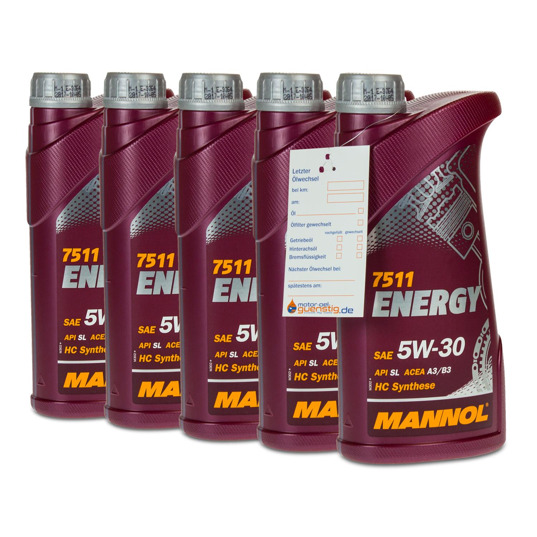 5 5x1 liter mannol sae 5w 30 energy motor l vw. Black Bedroom Furniture Sets. Home Design Ideas