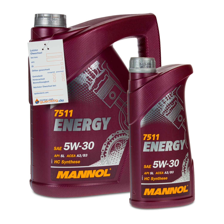 6 5 1 liter mannol sae 5w 30 energy motor l vw. Black Bedroom Furniture Sets. Home Design Ideas