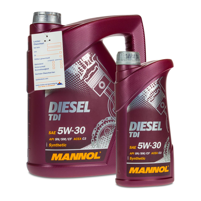 6 5 1 liter mannol 5w 30 diesel tdi motor l f r vw audi. Black Bedroom Furniture Sets. Home Design Ideas